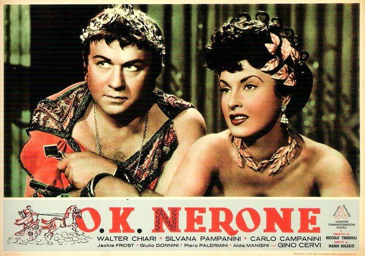 "Gino Cervi and Silvana Pampanini. Lobby card for Mario Soldati's ""O.K. Nerone"" (English title: ""O.K. Nero!"", 1951)."