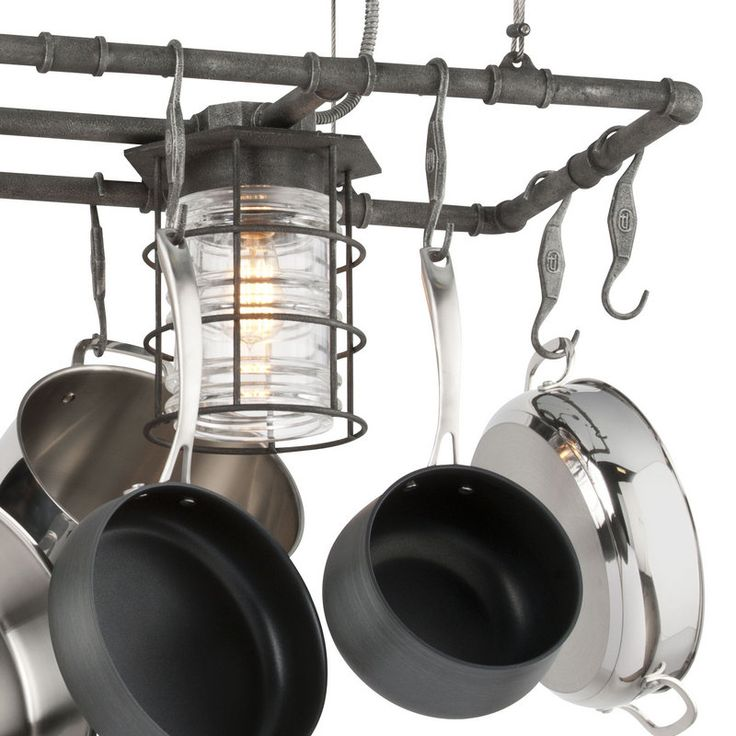 Troy Lighting F3798 Aged Pewter Brunswick 2 Light Kitchen Island Pot Rack with Pressed Glass - LightingDirect.com