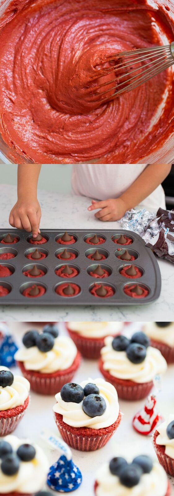 Red Velvet Brownie Cups with Cream Cheese Frosting and a Hershey Kiss inside. These have the perfect amount of chocolate inside and the flavor is delicious!