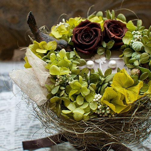 muguet mariage 鳥の巣リングピロー グリーン