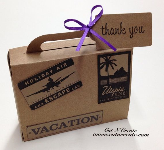 """Suitcase Favor Boxes. LARGE. Each favour is 1 5/8""""w x 4 1/2""""l x 3 1/4""""h not including the handle (Assembled) and the size is not adjustable. 4.10 cm wide x 11.4 cm long x 8.2 cm high, not including the handle. $32.65"""