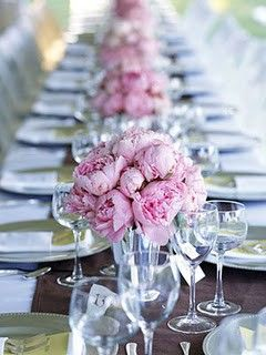 Bridal shower, baby shower...: Pink Flower, Ideas, Tables Sets, Wedding, Peonies Centerpieces, Bridal Shower, Long Tables, Pink Peonies, Center Pieces