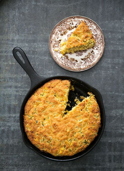Spicy jalapeño cornbread with jalapenos, jack cheese, whole corn kernels, cornmeal and flour. On SimplyRecipes.com