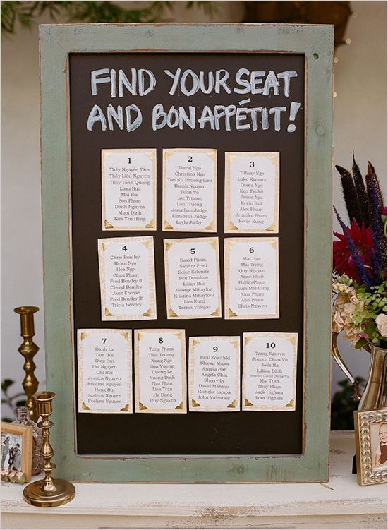 Wedding Seating Chart Ideas   Helen and Chris continued with their up-cycled theme by using a ...