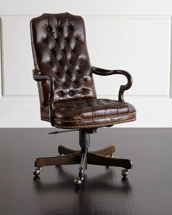 Blevens Tufted-Leather Office Chair by Massoud at Horchow.