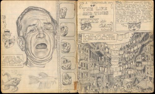 thebristolboard:  Early sketchbook pages by Robert Crumb featuring Fritz the Cat, July 1961.