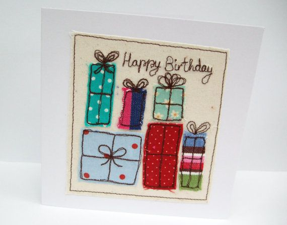 Birthday Card  Machine Embroidered Birthday Presents by Nikelcards