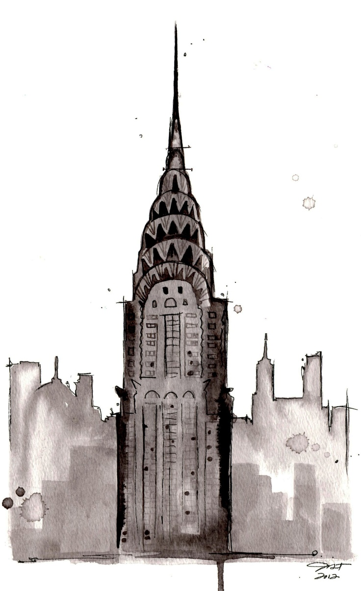 Watercolor study of NYC, by Jessica Durrant: Chrysler Nyc, Watercolor Art, Building Nyc, Watercolors, Watercolor Study, Chrysler Building, Art Painting, Jessica Durrant