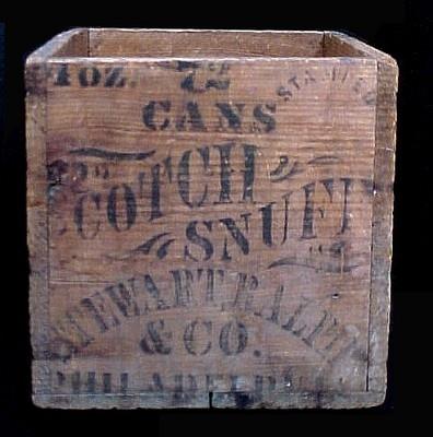 C1880 Wood Scotch Snuff Tobacco Crate Stenciled Philadelphia Stewart Ralph Cool | eBay