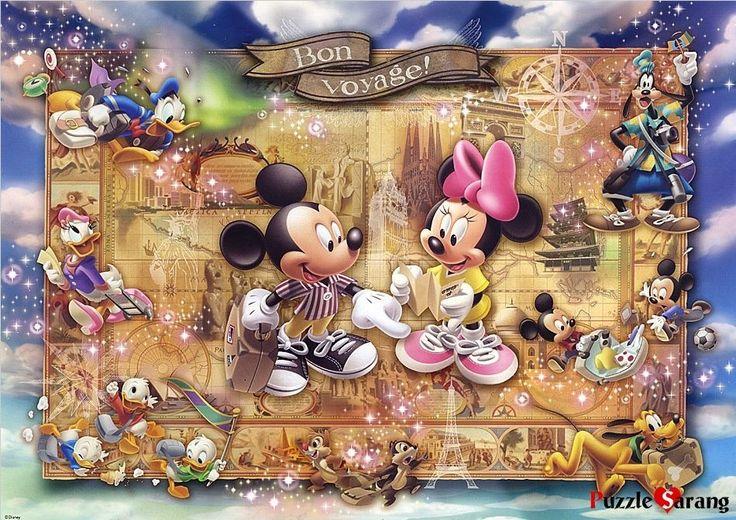 """Jigsaw Puzzles 1000 Pieces """"Mickey and Minnie's World Tour"""" Disney Tenyo   eBay"""