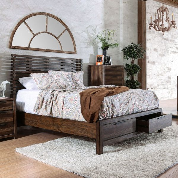 1 099 Furniture of America Amber Contemporary Rustic Slatted Wingback  Storage Bed. 44 best Beds images on Pinterest   Master bedrooms  Panel bed and