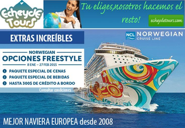 """Ir en #cruceros Norwegian Cruise Line (NCL) es disfrutar del """"Freestyle Cruising"""", un concepto novedoso de realizar cruceros de forma relajada y organizar el tiempo libre según el deseo de cada uno.  Sin duda alguna¡¡ Norwegian Cruise Line es la libertad de navegar !! http://cruceros.viajesecheydetours.com/"""
