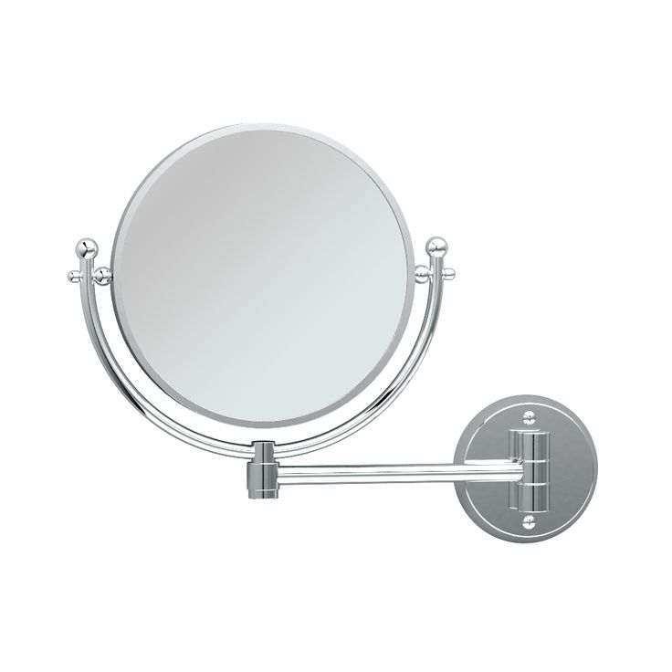 This Magnifying Wall Mirror in Chrome is a must-have for every bathroom. The two-sided mirror is attached to an extendable arm which can reach 9-Inch out from the wall. The traditional style, bright classic and quality construction, along with the 3x magnification on one side make this piece pleasing to any bathroom.