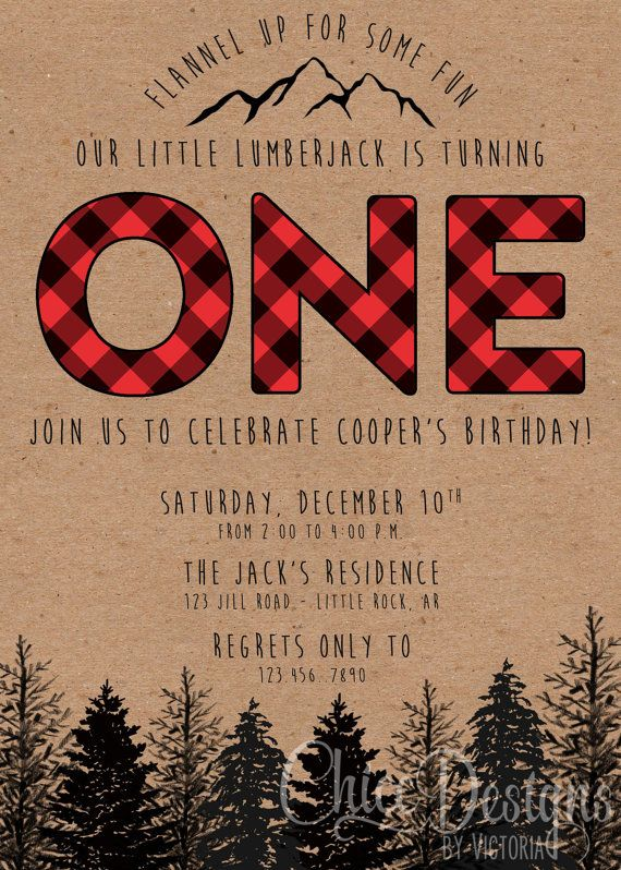 Lumberjack Birthday Party Invite First Birthday by ChiccDesigns