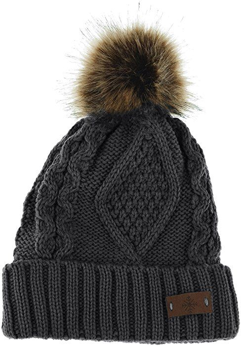 1c9527ad197 Women s Faux Fur Pom Pom Fleece Lined Knitted Slouchy Beanie Hat (Dark  Gray) at Amazon Women s Clothing store