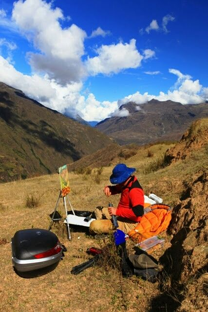 Painting in BOLIVIA during the filming of Changing Landscapes TV series.