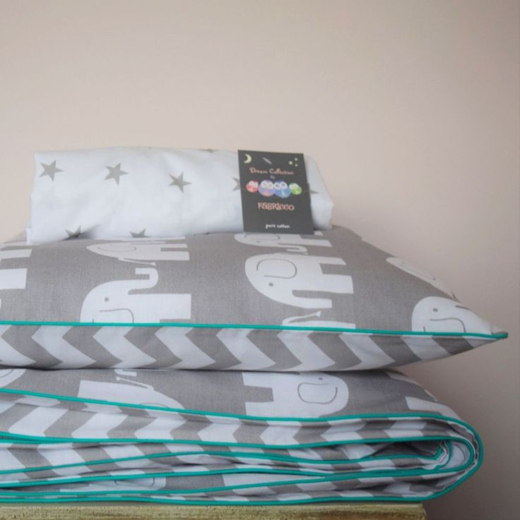 Cot bed Duvet Cover Set & Fitted Sheet. This cot bed set is made from very good quality 100% cotton fabric. Colour: White and Grey, chevron zig zag and elephants on the reverse side, dark mint piping. | eBay!