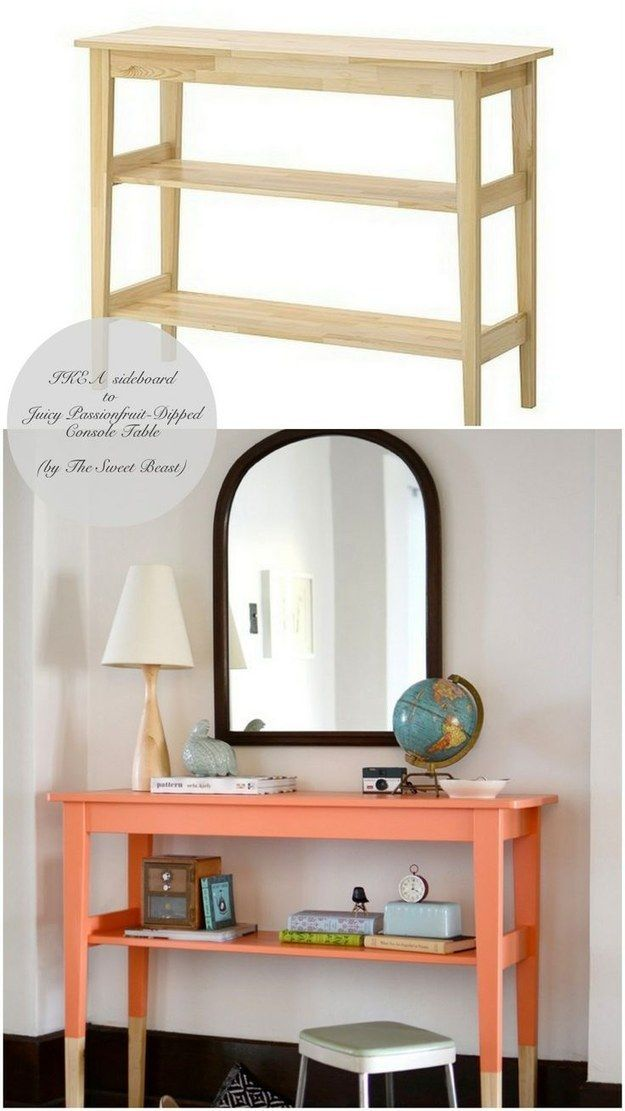 Paint a NORDEN sideboard ($79.99) to look dip-dyed. | 37 Cheap And Easy Ways To Make Your IKEA Stuff Look Expensive