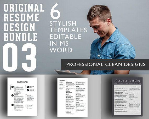 Professional Resume Designs Bundle  Get 4 by OriginalResumeDesign
