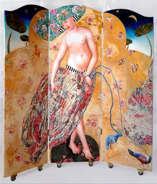 Kamerscherm Safron Bleu serie Demoiselles door MargrietThissen