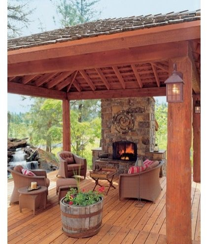 Rustic Outdoor Living Room Add A Pool Table Under The Roof For Outside