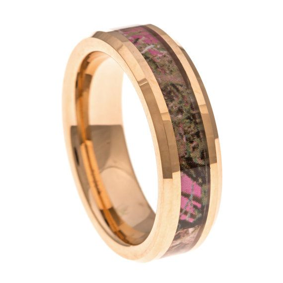Ladies Pink CAMO Wedding Band, Rose Gold Tungsten, Thin 6MM Tungsten Engagement, Anniversary, Promise Ring, Beveled Edges, Comfort Fit