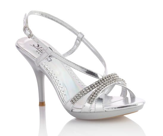 "Colorful metallic platform sandals with a color coordinated rhinestone ornamentation and an adjustable buckle ankle strap. 3 3/4 heel with 3/4"" platform."