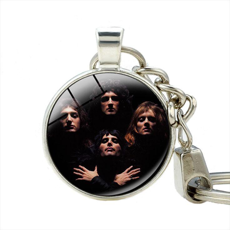 클래식 화려한 예술 금속 록 밴드 퀸 보헤미안 랩소디 열쇠 고리 손수 키 체인 보석
