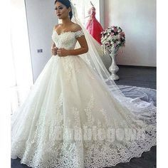 Charming Affordable Off the Shoulder Long Wedding Dresses, BGW003