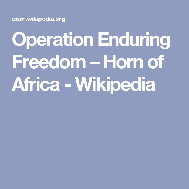 Operation Enduring Freedom – Horn of Africa - Wikipedia