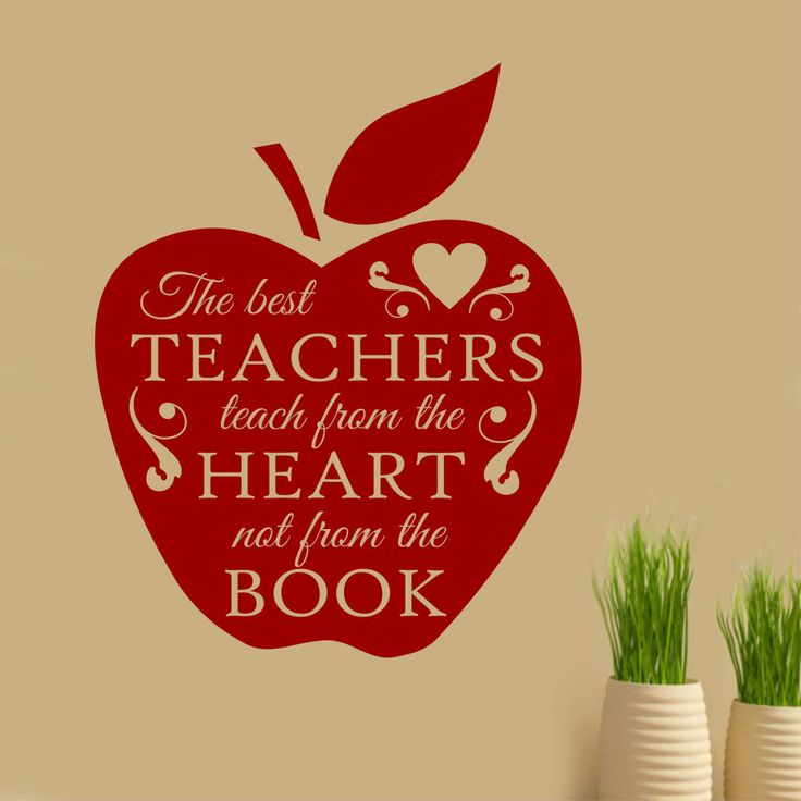 Vinyl Wall Lettering The Best Teachers teach from the Heart Apple Teacher Appreciation Decal