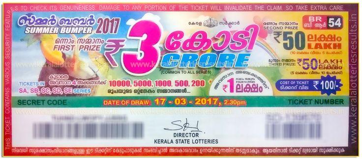 Kerala Bumper Lottery - Summer Bumper - 2017 (BR-54) Prize Structure ~ Kerala Lotteries 08/02/2017: AKSHAYA Lottery Results AK-279-Kerala Lottery Result Today LIVE