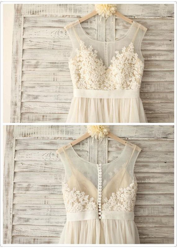 Lace Chiffon Wedding Dress with Champagne Lining