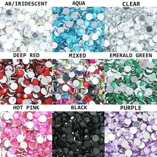 1000 stk pyntesteiner i størrelser fra 1mm til 5 mm (1000 Crystal Flat Back Acrylic Rhinestones Gems 1mm 2mm 3mm 4mm 5mm)