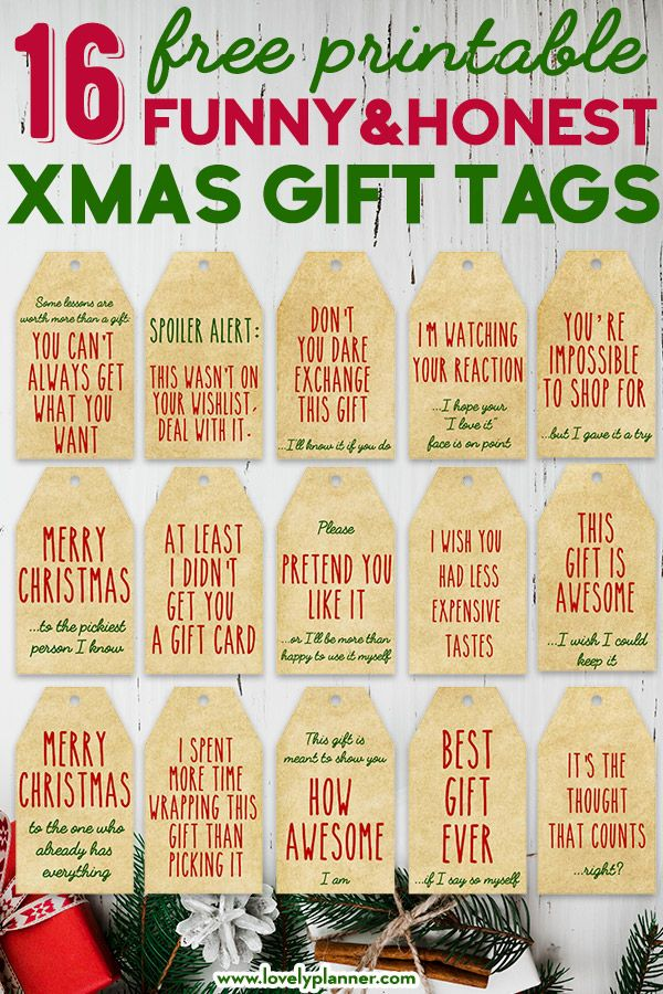 16 Free Printable Funny Honest Christmas Gift Tags