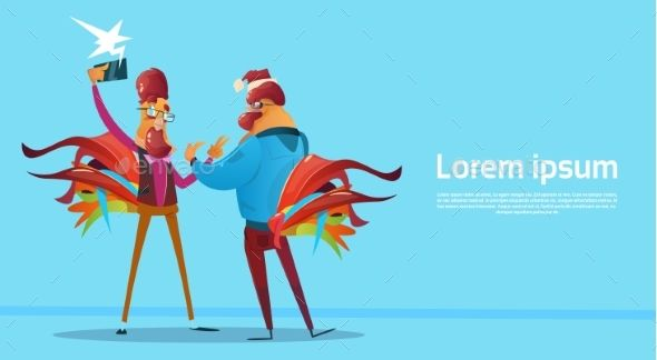 Two Cartoon Rooster Hipster Making Selfie Photo Chatting On Smart Phone Happy 2017 New Year Flat Vector Illustration