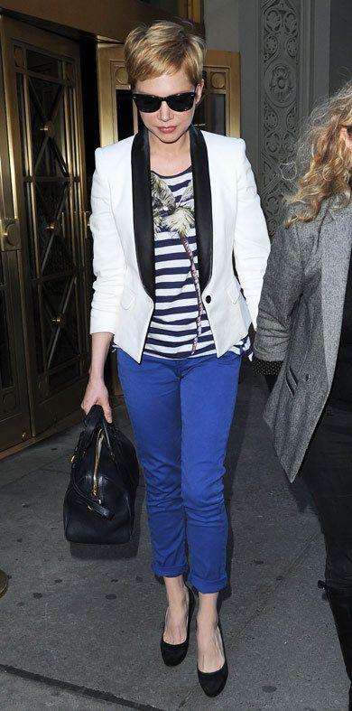Michelle Williams: luv the white tux jacket!