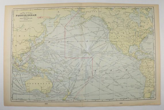 Vintage Map of Pacific Ocean Islands 1902 Antique Map, Hawaii, Polynesia Map, Vacation Gift, Travel Map, 1st Anniversary Gift for Couple available from OldMapsandPrints on Etsy