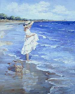 Sandpipers by Sally Swatland - 30 x 24 inches Signed impressionist beach scenes children playing contemporary american chase pothast