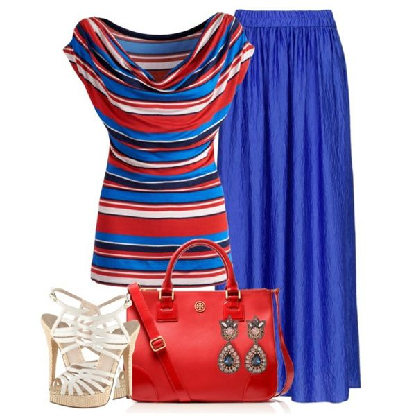 С чем носить белые босоножки: длинная ярко-голубая юбка, полосатая кофточка и…