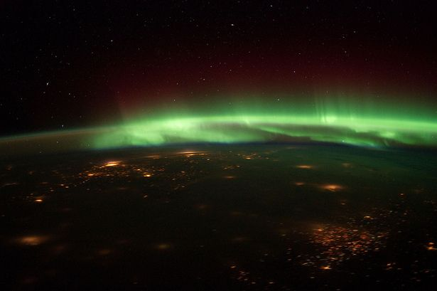 The Aurora Borealis From Space    Solar storms in late January have resulted in particularly dramatic northern lights recently, as captured in the above photograph taken by the astronauts on board the International Space Station. At the time, the space station was located over south-central Nebraska.