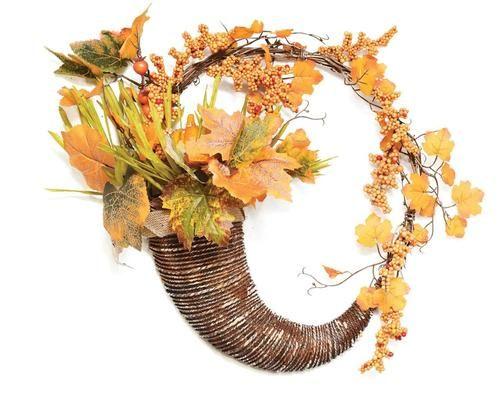 "18"""" Autumn Harvest Decorative Artificial Pumpkins Berries and Leaves Cornucopia Wreath - Unlit"