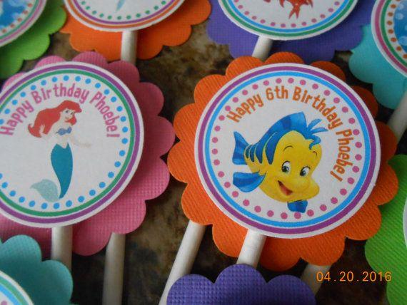 Kleine zeemeermin Cupcake Toppers-Ariel door PartiezwithPizsjg mazz