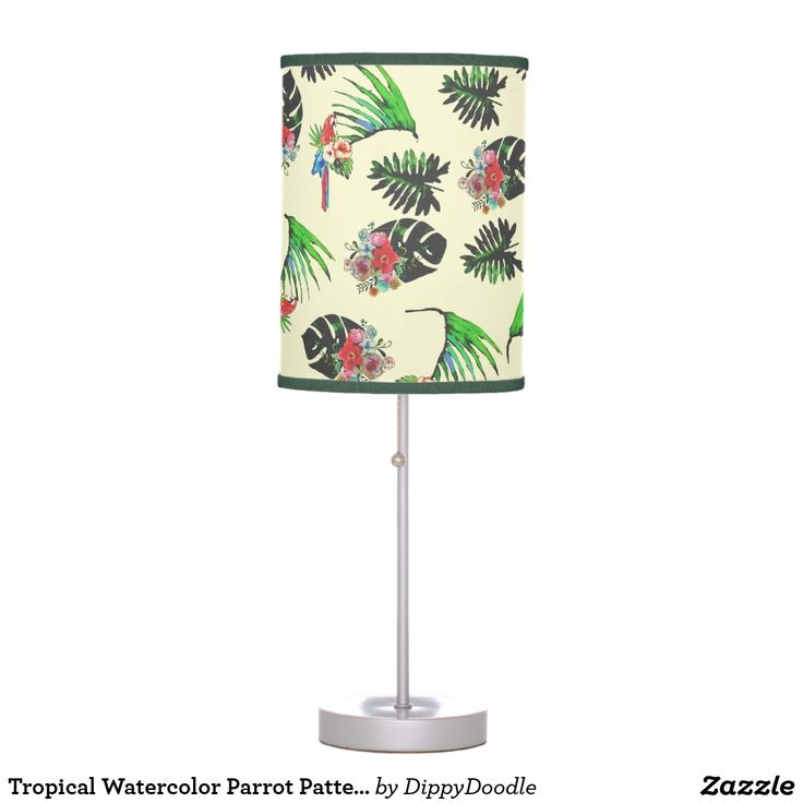 Tropical Watercolor Parrot Pattern Desk Lamp