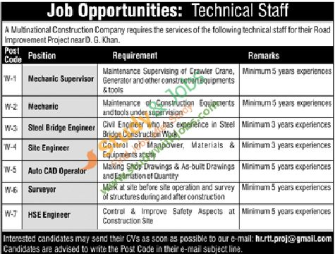Jobs opportunity in Multinational Construction Company