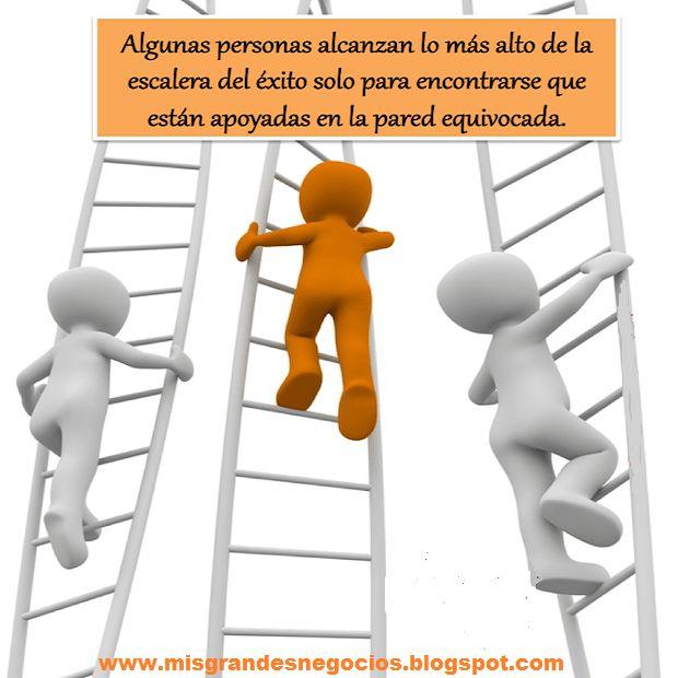 Algunas personas alcanzan lo más alto de la escalera del éxito, sólo para encontrarse que están apoyados en la pared equivocada.