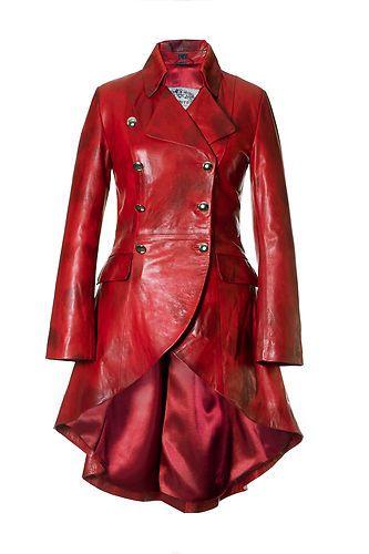 NIce mix of Steampunk and modern. Ledermantel Damen Rot Leder Echte Lammnappa GR 34 50 | eBay