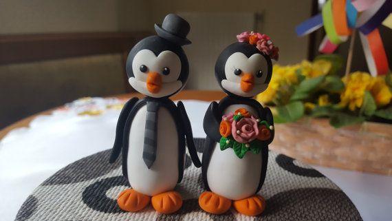 Penguin Wedding cake topper penguin Figurine by FiguresAnya