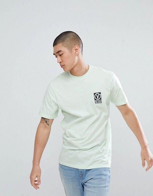 Vans – Worldwide – T Shirt mit Rückenprint in Grün