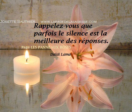 LES PANNEAUX ROSES : Panneau Rose du Dalaï Lama sur le silence